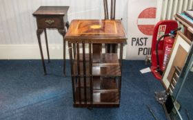 Reproduction Mahogany Inlaid Top Two Tier Revolving Book Stand with slatted sides,