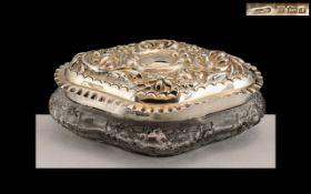 Edwardian Period Excellent Shaped Sterling Silver Lidded Cut Glass Trinket Jar of Large Proportions.