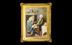 Watercolour Drawing Titled 'A Rustic Group' depicting an old farmer sitting in the kitchen chair