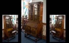 Antique Oak Bureau Bookcase,