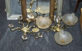 Two Brass Chandeliers ( 5 Branch without Shades ) 3 Branch with Glass Shades.