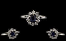 18ct White Gold - Attractive Sapphire and Diamond Set Cluster Ring - Flower head Setting. The