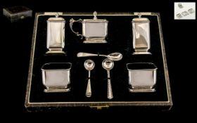 Art Deco Period Superior Quality Sterling Silver ( 5 ) Piece Cruet Set,