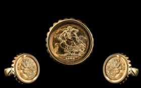 22ct Gold Full Sovereign - Mounted In a 9ct Gold Shank. The Sovereign Dated 1968, London Mint.
