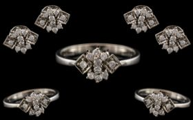 A Contemporary and Attractive Platinum - Diamond Set Jewellery Suite ( 3 ) Comprises of Dress Ring