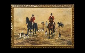 Eve Bygrave Oil on Canvas, an original oil on canvas of a hunting scene with quality,