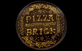 Large Vintage Italian Pizza Plate, large stoneware plate or tray with the words 'Pizza Brick' on;