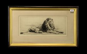 Herbert Dicksee Pencil Etching depicting a lion, signed in pencil, in original frame,
