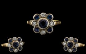 Antique Period - Attractive / Old 18ct Gold Sapphire and Diamond Set Dress Ring - Cluster Setting.