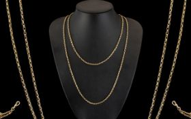 Victorian Period - Attractive 9ct Gold Muff Chain Belcher Design. Marked 9ct.