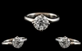 Ladies - 18ct White Gold Single Stone Diamond Set Dress Ring. Fully Hallmarked for 18ct - 750.
