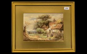 Watercolour of Cottage Scene signed F Mearns, mounted and framed behind glass.