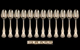 Early Victorian Period Superb Set of 12 Large Sterling Silver King's Pattern Table Spoons,