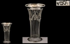 Arts and Crafts Superb Sterling Silver Open Worked Tapered Vase of Pleasing Form.