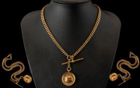 Edwardian Period Good Quality 9ct Rose Gold Double Albert Chain with Attached T-Bar and Medal.