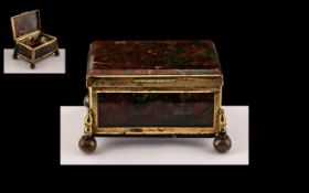 Small Antique French Moss Lidded Agate Trinket Box with a Gold Coloured Framework,
