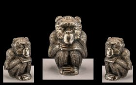 Chinese Silver Monkey. Excellent Quality Silver Monkey, Well Cast and of Lovely Quality, Monkey Is