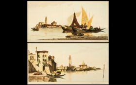 J Kirkpatrick Signed Artists Proofs of a pair of watercolours titled 'Murano, Venice' and 'San