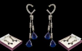 Ladies 18ct White Gold Superb Pair of Exquisite Diamond and Sapphire Set Drop Earrings.