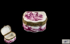 19th Century Dresden Lidded Pill Box, porcelain, brass mounted, hand painted,