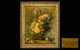 Large Antique Signed Still Life Oil on Canvas of flowers in a vessel,