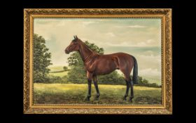 Horse Racing Interest - Oil Painting on Board of the Famous Race Horse Red Rum in landscape.
