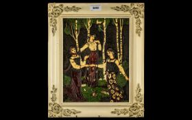 An Oriental Carved and Lacquered Metal Panel depicting Russian girl folk dancing in traditional