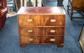 Campaign Style Writing Desk, campaign style cabinet with leather top,