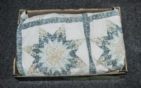 Vintage Style Patchwork Quilted Bedspread/Throw, king size, in pale blue and which colour scheme.