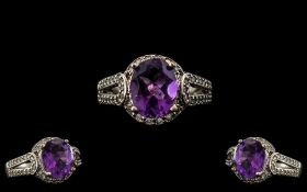 Ladies - Attractive 9ct White Gold Amethyst and Diamond Set Dress Ring.