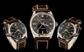 Rolex - Gents 1959 Oyster Perpetual Steel Chronometer Wrist Watch with Later Leather Strap.