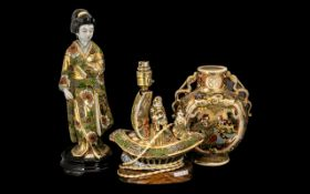 Three Pieces Of Japanese Early 20th Century Satsuma Wear consisting of a figure of a Geisha girl -