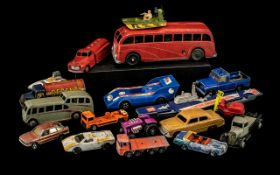 A Collection of Dinky Cars to include K-304 Aircraft Carrier, a red petrol truck, a red school bus,