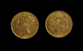Queen Victoria Young Head Shield Back 22ct Gold Full Sovereign, London Mint, date 1869, die no.