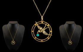 Victorian Period Attractive and Petite 9ct Gold Circular Pendant with flying swallow figure to