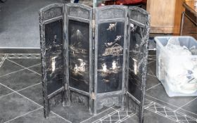 Japanese Four Panel Screen of Small Size, Decorated with Bone and Mother of Pearl Shell,