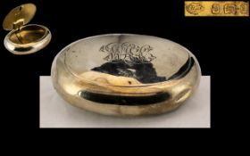A Silver Squeeze Tobacco Box of typical oval/round form. Hallmarked for Birmingham A 1900.