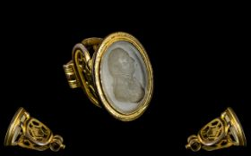 Rare Georgian Gentleman's Seal, The Intaglio Engraved with a Portrait Bust of An English Gentleman,