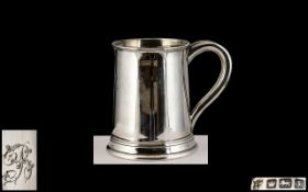 George V - Early Period Sterling Silver Tankard of Medium Sized Proportions,