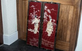 Pair of Chinese Red Lacquered Panels depicting ladies in a terraced pavilion, inlaid with mother-