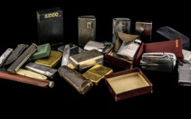 Cigar Box Containing a Collection of Lighters, to include Zippos, Ronson, Cheroot Holders & Cases,