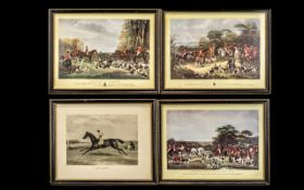 Four Framed Hunting Prints titled The Meet at Blagdon, Sir Richard Sutton and the Quorn Hounds, Bury
