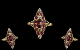 Antique Period Superb 18ct Gold Boat Shaped Ruby and Diamond Set Ring. c.1900. Excellent Design. The