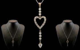Antique Period 18ct White Gold - Exquisite Heart Shaped Diamond Set Pendant / Drop Necklace of