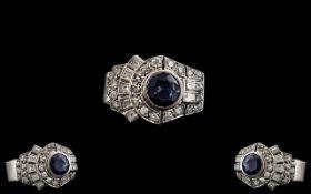 Art Deco Period Superb Platinum Diamond and Sapphire Set Cocktail Ring.
