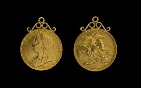 Queen Victoria 22ct Gold 2 Pound Coin with Attached 9ct Gold Mount ( Easy to Remove ) Date 1893.