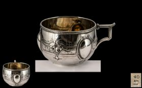 American 19th Century Superb and Solid Coin Silver Decorative Cup,