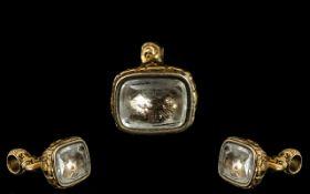 Antique Georgian Rock Crystal Engraved Intaglio, of the All Seeing Masonic Eye,