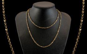 Antique Period - Attractive Diamond Cut 9ct Gold Long Chain. c.1880's. Excellent Colour / Condition.