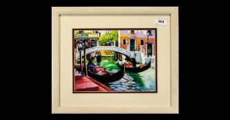 E. Anthony Orme 1945 ' Canal at Venice ' with Gondoliers, Pastel on Paper, Signed to Lower Right and